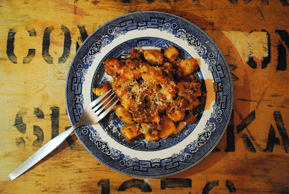 Sausage and Peppers Ragu with wine. The recipe calls for sweet sausage ...