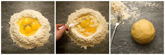 Making the pasta dough